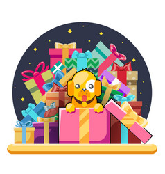 cute cartoon baby yellow dog cub gift box pile of vector image