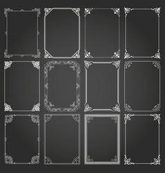decorative rectangle frames and borders set 2 vector image