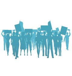 demonstrate protest people silhouette public vector image