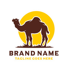 Desert camel silhouette logo design vector
