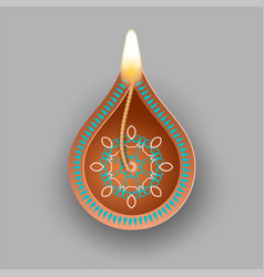 diwali oil lamp vector image