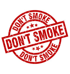 Dont smoke round red grunge stamp vector