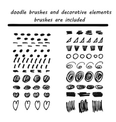 Doodleink brushes hand drawn decorative elements vector image