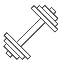 Dumbbell thin line icon weights vector