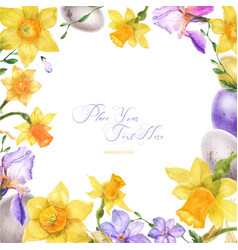 Easter watercolor frame with spring flowers and vector