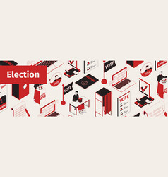 election isometric site header vector image