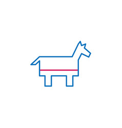 elections democrat party outline colored icon can vector image