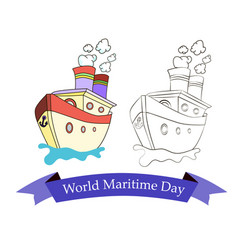 festive emblem with image of a ship on world vector image