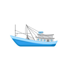 Flat icon of large commercial fishing boat vector