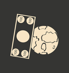 flat in black white earth and dollar vector image