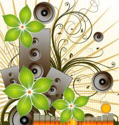 floral music background vector image
