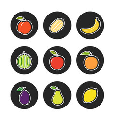 fruit outline icons on chalk rounds set vector image