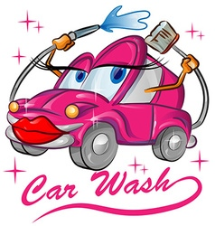 Fun red sexy car wash cartoon vector