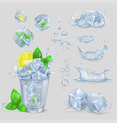 Glass with water lemon slice green mint and ice vector