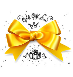 Gold gift bow satin isolated red glamour bow for vector