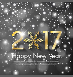 Golden new year 2017 concept on grey snow blurry vector