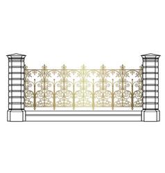 Golden openwork fence vector
