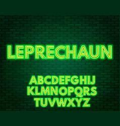 green yellow neon alphabet on a dark background vector image