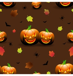 Halloween seamless pattern pumpkins scary face vector