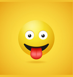 Happy smiling emoticon with stuck out tongue vector