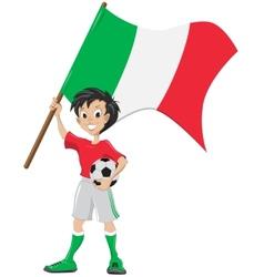 Happy soccer fan holds italia flag vector