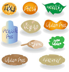 Healthy food labels and signs set vector