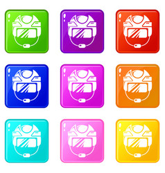 Hockey helmet icons set 9 color collection vector