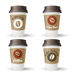 hot coffee takeaway cups vector image