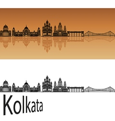 Kolkata skyline in orange vector
