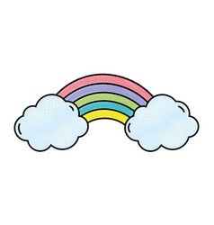 line color bright rainbow in the sky with clouds vector image