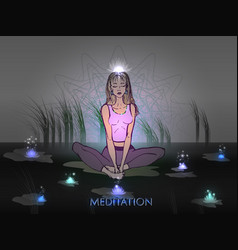 meditative girl in the background of nature vector image