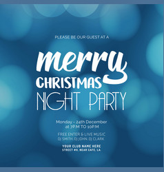 merry christmas night party glowing blue vector image