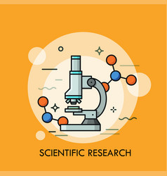 Microscope surrounded by molecular structures vector