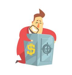 millionaire rich man hugging his metal safe money vector image