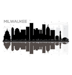 Milwaukee city skyline black and white silhouette vector