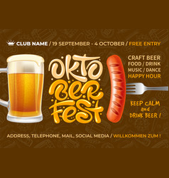 oktoberfest beer festival advertising flyer vector image