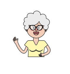 Old woman eith glasses and hairstyle vector