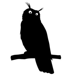 owl sitting on a branch black sign vector image