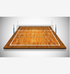 Perspective of hardwood volleyball field court vector
