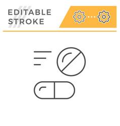 pills editable stroke line icon vector image