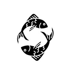 Pisces zodiac sign black glyph icon vector