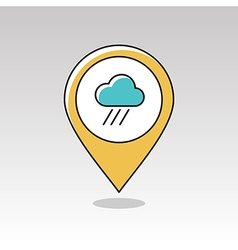 Rain Cloud pin map icon Downpour Weather vector