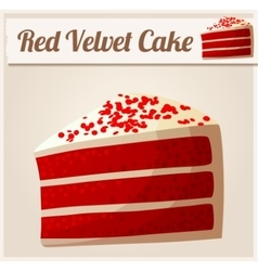 Red Velvet Cake Detailed Icon vector