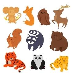 set cute cartoon animals vector image