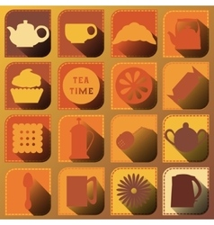 Set of 16 icons Tea time Brown tones vector image