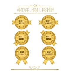 Set of blank round polished gold metal badges vector image