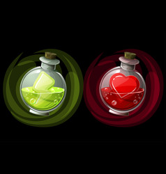 Set potions in glass round bottles with icons vector