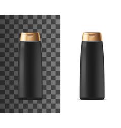 Shampoo shower gel black cosmetic package bottle vector