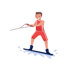 smiling man riding water board wakeboarding vector image