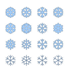 snowflakes signs set blue snowflake icons vector image